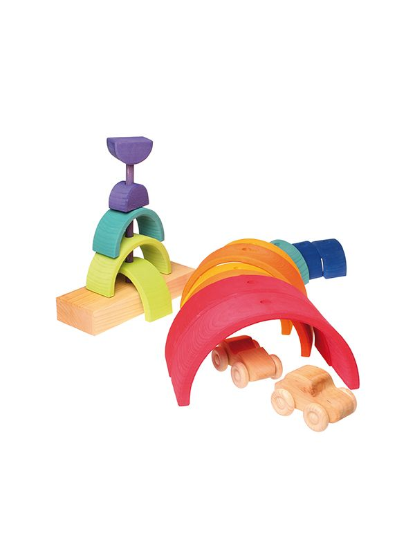 Gioco in legno Grimm's Stacking Tower Rainbow