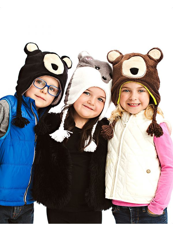 Cappello invernale reversibile in pile FlapJackKids - Lupo/Orso