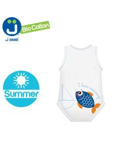J Body Fresco Cotone Summer Sealife Collection - Body allungabile smanicato  Pesce blu